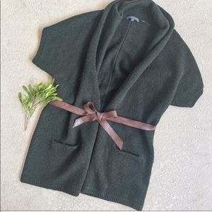 Vince Army Green Wool Belted Long Cardigan